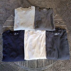 Lot of 5 Hanes Long Sleeve Waffle Shirts - Size M